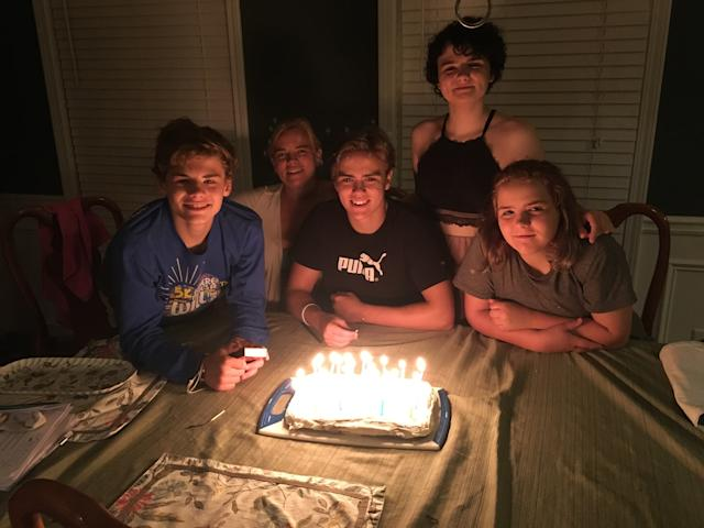 <i>From left to right:</i> Kevin, mom Carolyn, Michael, Cat and Elizabeth. Their oldest sister wasaway at collegeat the time. (Courtesy of Carolyn Miller)
