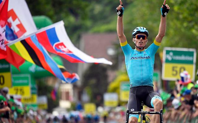 Luis León Sánchez wins stage two at the Tour de Suisse on what was another huge day for his Astana team - EPA