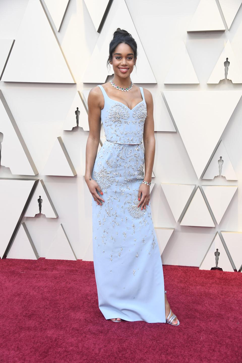 """<p>The """"BlacKkKlansman"""" actress looked beautiful in a blue gown by Louis Vuitton. <em>[Photo: Getty]</em> </p>"""
