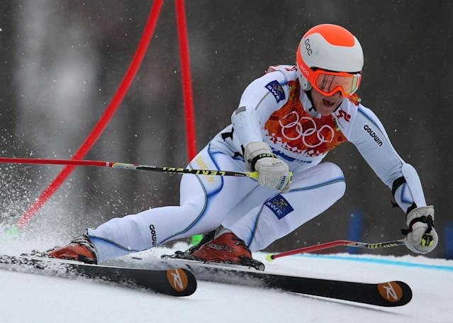 Sweden's Jessica Lindell-Vikarby passes a gate in the first run of the women's giant slalom at the Sochi 2014 Winter Olympics, Tuesday, Feb. 18, 2014, in Krasnaya Polyana, Russia.(AP Photo/Alessandro Trovati)