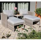 <p>Catch some rays in this <span>Osteen 5 Piece Rattan Sectional Seating Group With Cushions</span> ($450).</p>