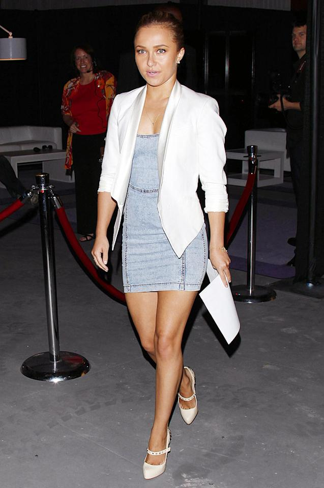 """Heroes"" hottie Hayden Panettiere rocks a denim dress, white blazer, and dark tan as she arrives at Cedars Sinai Medical Center's ""Rock-N-Reel"" charity event. Jean Baptiste Lacroix/<a href=""http://www.wireimage.com"" target=""new"">WireImage.com</a> - June 14, 2009"