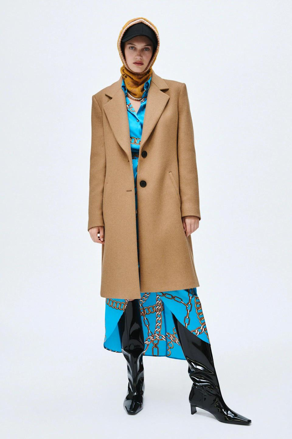 <p>This <span>Zara Menswear Style Wool Coat</span> ($129) is so chic. It comes in black and tan.</p>