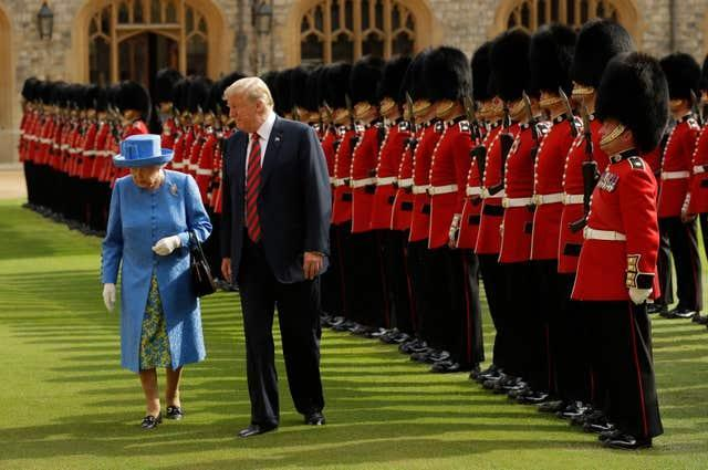 The Queen with then-US president Donald Trump