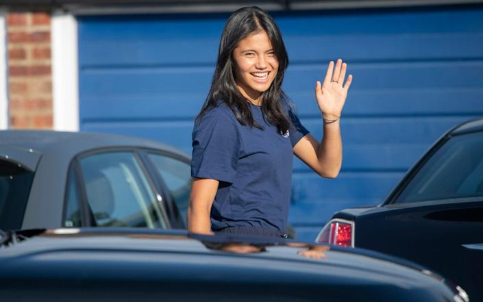 Emma Raducanu is all smiles as she returns to Bromley - David Rose for The Telegraph