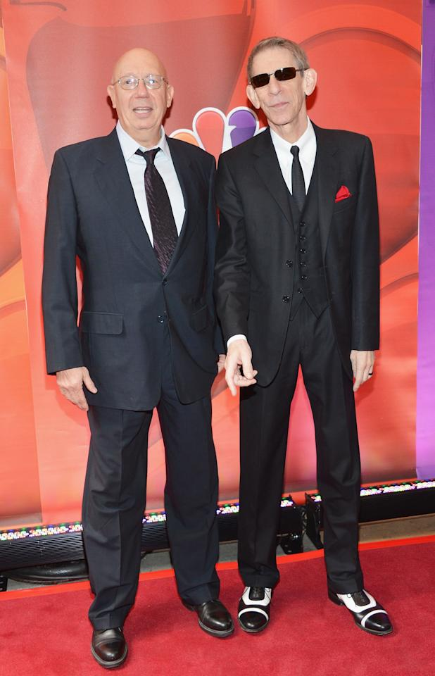 NEW YORK, NY - MAY 13:  Actors Dann Florek (L) and Richard Belzer attend 2013 NBC Upfront Presentation Red Carpet Event at Radio City Music Hall on May 13, 2013 in New York City.  (Photo by Slaven Vlasic/Getty Images)