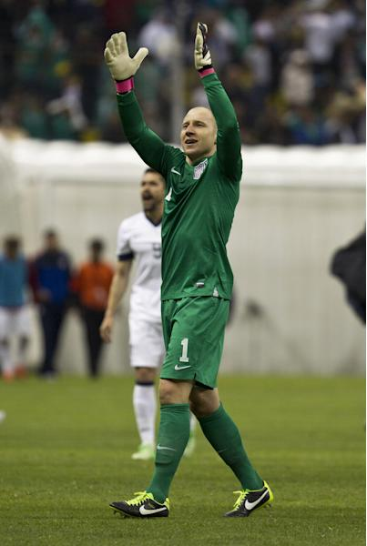 United States goalkeeper Brad Guzan celebrates at the end of the 2014 World Cup qualifying match against Mexico at the Aztec stadium in Mexico City, Tuesday, March 26, 2013. The game ended 0-0. (AP Photo/Christian Palma)