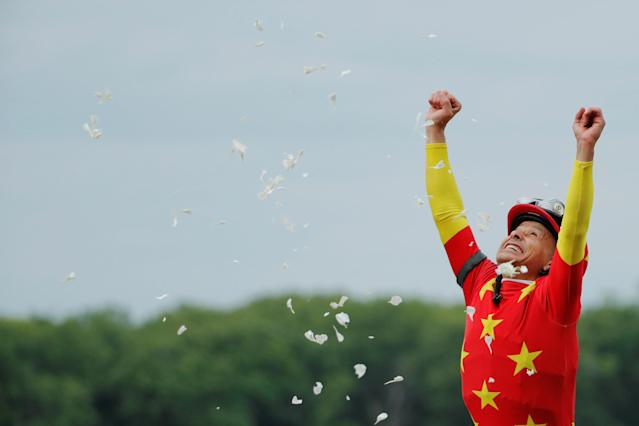 Jockey Mike Smith celebrates aboard Justify after winning the 150th running of the Belmont Stakes, the third leg of the Triple Crown of Thoroughbred Racing at Belmont Park in Elmont, New York, U.S., June 9, 2018. REUTERS/Lucas Jackson