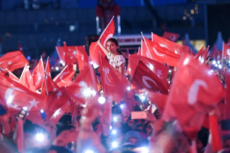Erdogan led various events to commemorate the coup, including this rally in Istanbul (AFP Photo/Ozan KOSE)