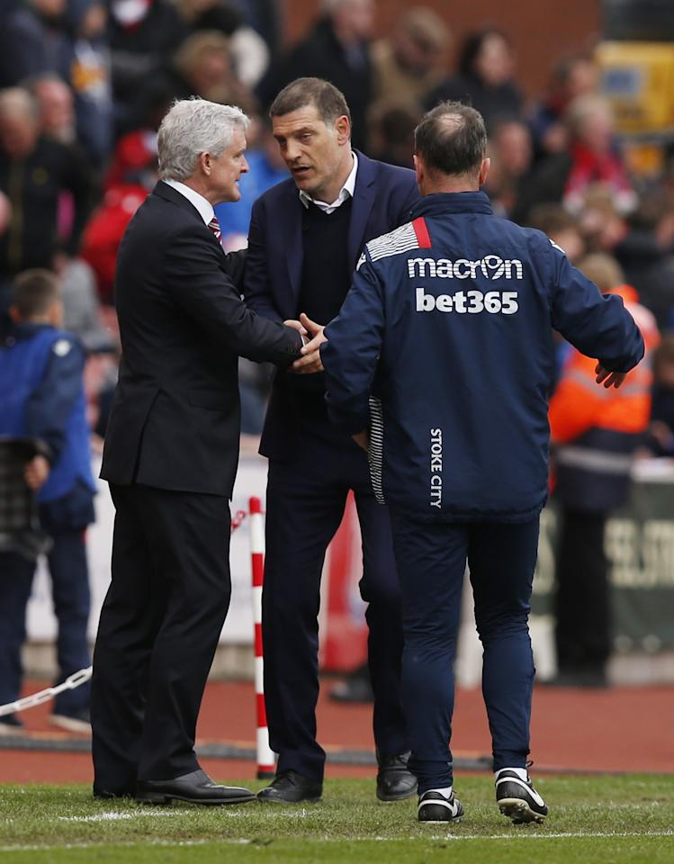 <p>West Ham United manager Slaven Bilic shakes hands with Stoke City manager Mark Hughes after the match </p>