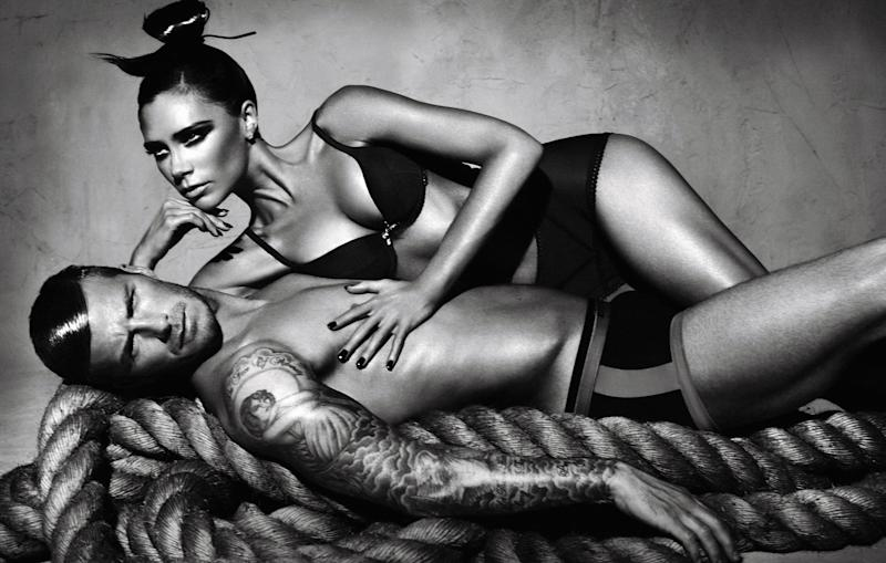 The power couple posed for a Emporio Armani 2009/2010 lingerie campaign [Photo: Getty]