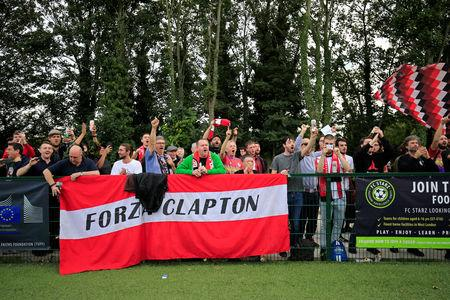 Clapton CFC supporters react after their team won 2-1 in away game against Ealing Town in East Acton, in London, Britain September 15, 2018.  REUTERS/James Akena