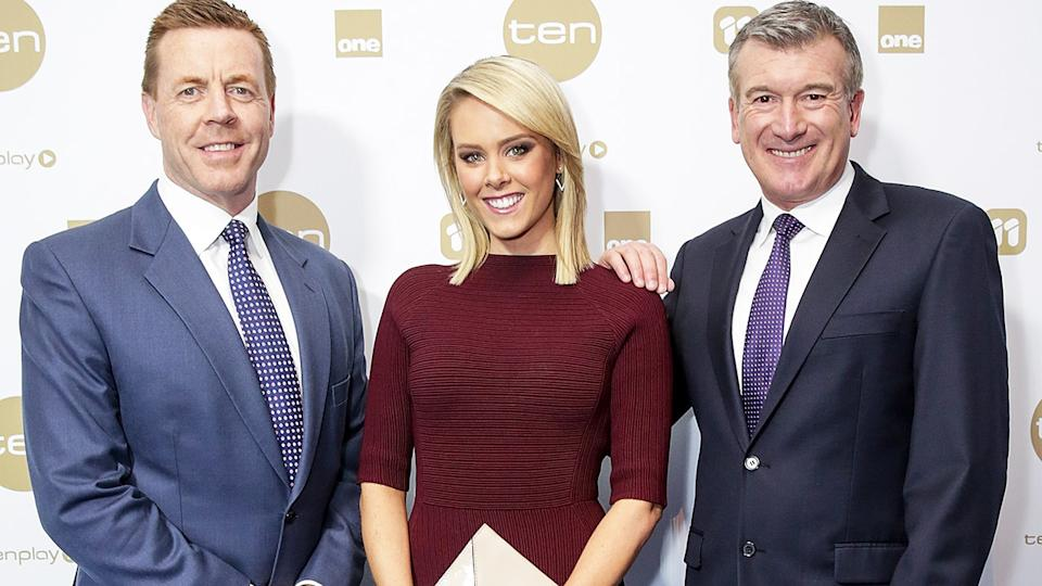 Brad McEwan, pictured here with Channel Ten colleagues Candice Wyatt and Stephen Quartermain in 2016.