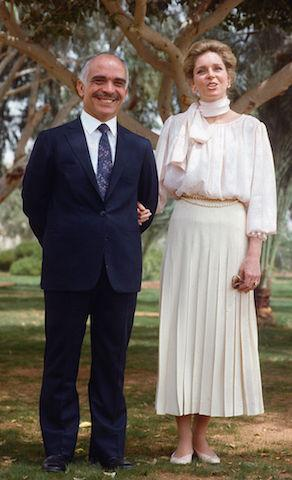 """<p>Syrian-American, Lisa Halaby, fell in love with King Hussein of Jordan. Before the couple tied the knot on 32 August 1951, Halaby converted to her husband's Sunni Islamic religion and was given the royal name, """"Noor A-Hussein"""" which means 'light'.<br /><br />The couple had four children together: Prince Hamzah, Prince Hashim, Princess Iman and Princess Raiyah. After a long battle with lymphatic cancer, King Hussein sadly passed away on 7 February, 1999. <em>[Photo: Getty]</em> </p>"""