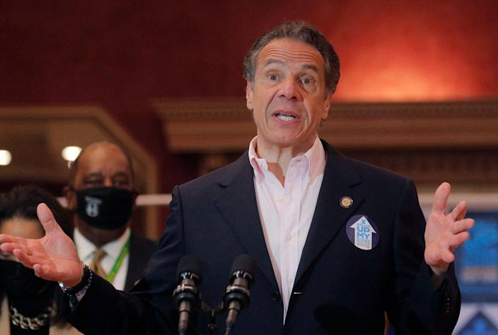 """<span class=""""caption"""">New York Gov. Andrew Cuomo faces an investigation over an alleged pattern of sexually harassing and intimidating women employees.</span> <span class=""""attribution""""><a class=""""link rapid-noclick-resp"""" href=""""https://www.gettyimages.com/detail/news-photo/new-york-governor-andrew-cuomo-speaks-at-rochdale-village-news-photo/1232129893?adppopup=true"""" rel=""""nofollow noopener"""" target=""""_blank"""" data-ylk=""""slk:Brendan McDermid/Pool/AFP/via Getty Images"""">Brendan McDermid/Pool/AFP/via Getty Images</a></span>"""