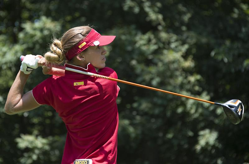 Spanish golfer Belen Mozo tees off during the final round of the LGPA International Crown at Caves Valley Golf Club in Owings Mills, MD, July 27, 2014
