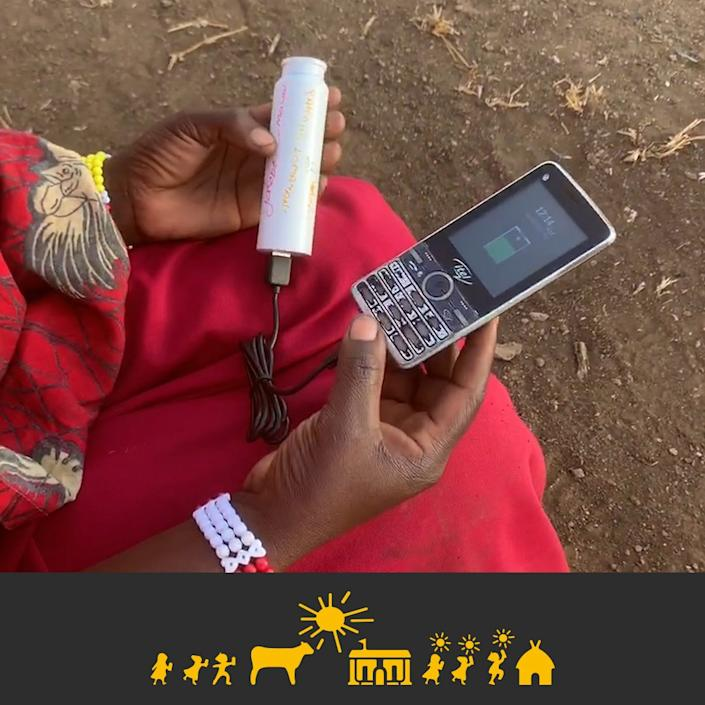 Solar Cow also aids African families in powering their cell phones.