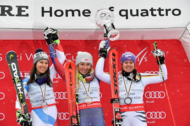 Alpine Skiing - FIS Alpine Skiing World Cup Finals 2018 - Are, Sweden - March 18, 2018. Wendy Holdener of Switzerland, second placed, winner Mikaela Shiffrin of the U.S. and Viktoria Rebensburg of Germany, third placed, pose with the World Cup overall trophy. TT News Agency/Anders Wiklund/ via REUTERS ATTENTION EDITORS - THIS IMAGE WAS PROVIDED BY A THIRD PARTY. SWEDEN OUT. NO COMMERCIAL OR EDITORIAL SALES IN SWEDEN
