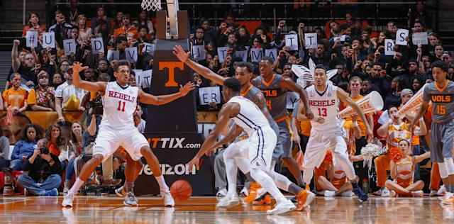 Students used the student section at a Tennessee basketball game to protest a racist image posted by a fellow student. (Getty)