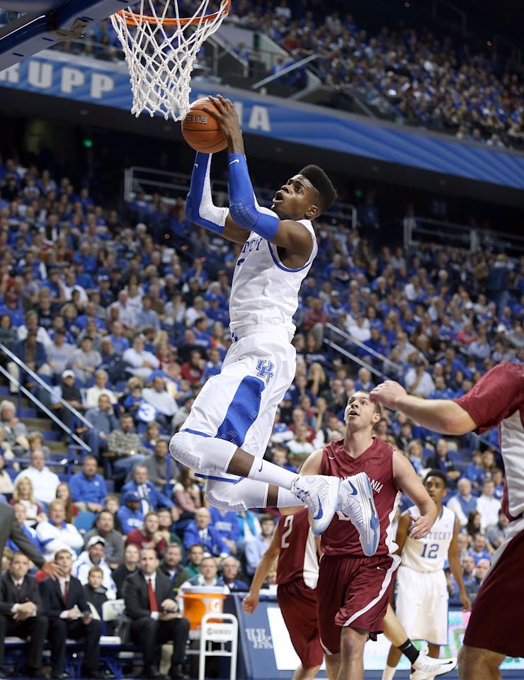 LEXINGTON, KY - NOVEMBER 05:  Nerlens Noel #3  of the Kentucky Wildcats shoots the ball during the exhibition game against the Transylvania Pioneers at Rupp Arena on November 5, 2012 in Lexington, Kentucky.  (Photo by Andy Lyons/Getty Images)