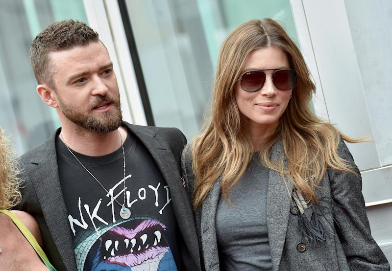 HOLLYWOOD, CA - APRIL 30: Singer Justin Timberlake and actress Jessica Biel attend the ceremony honoring NSYNC with star on the Hollywood Walk of Fame on April 30, 2018 in Hollywood, California. (Photo by Axelle/Bauer-Griffin/FilmMagic)