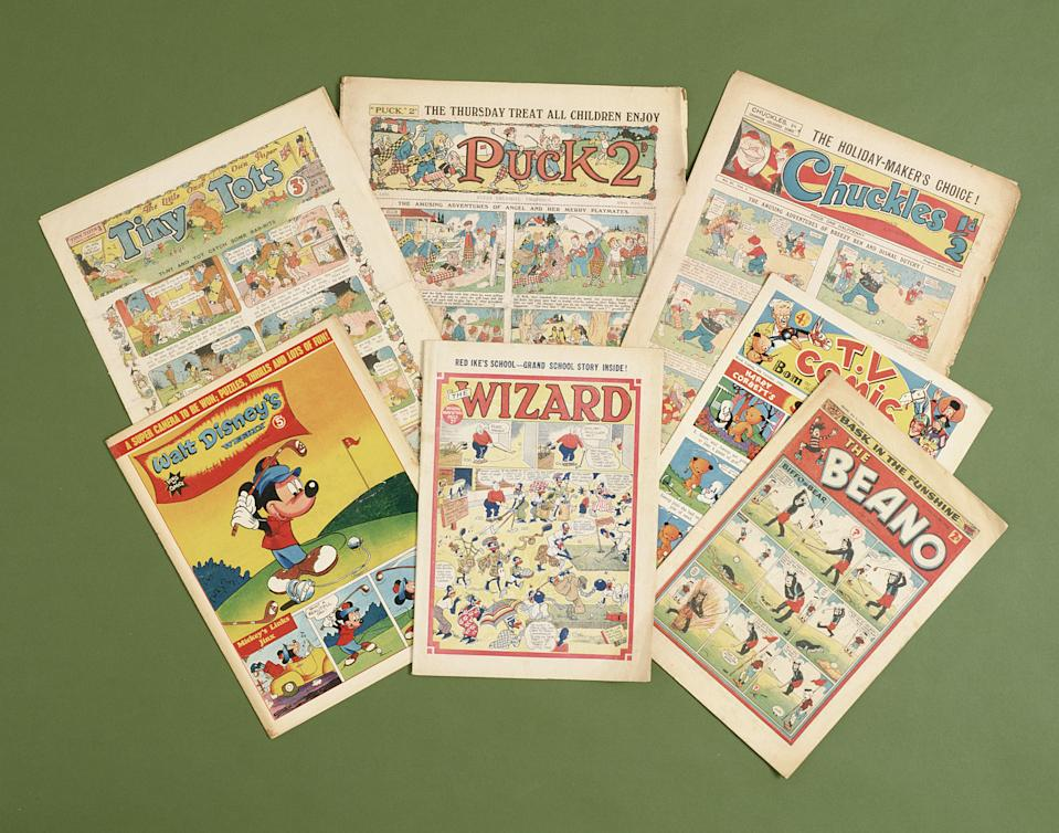 Children's comics with golfing themes, British, c1950s-c1960s. Includes the Wizard, Beano, Chuckles, TV Comic, Tiny Tots, Puck 2 and Walt Disney's Weekly. (Photo by Sarah Fabian-Baddiel/Heritage Images/Getty Images)