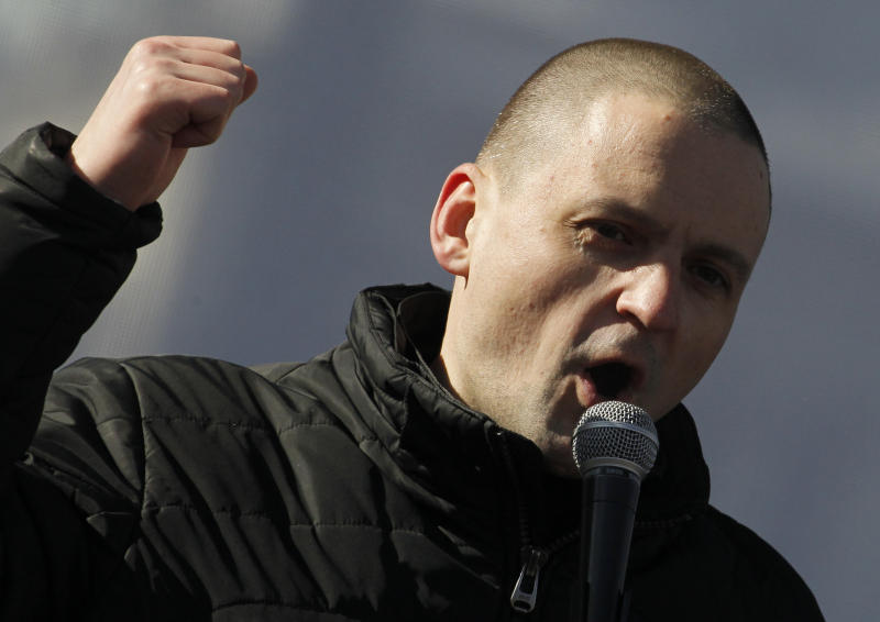 Russian opposition leader Sergei Udaltsov speaks during an opposition rally in Moscow, Russia, Saturday, March 10, 2012. The demonstrators gathered in central Moscow to protest electoral fraud. Saturday's rally is widely seen as evidence of whether the opposition is able to maintain its strength after Vladimir Putin on Sunday won a return to the Kremlin. (AP Photo/Ivan Sekretarev)