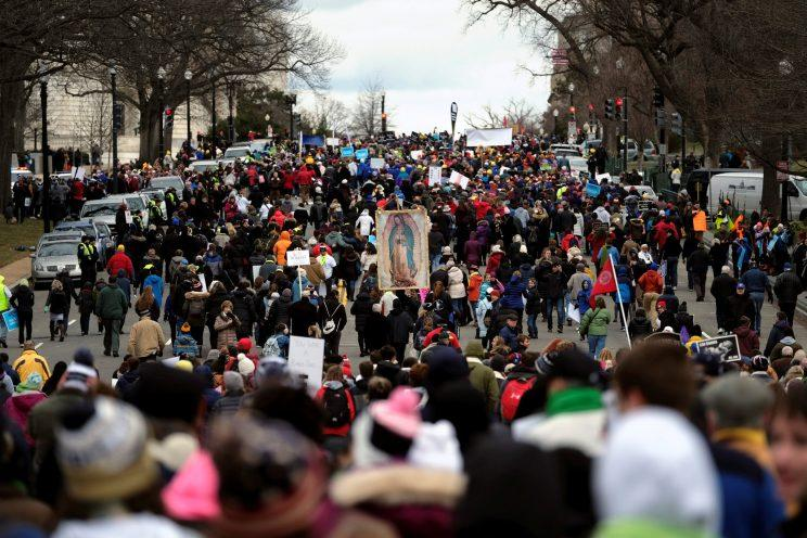 The annual March for Life proceeds up Capitol Hill on Constitution Avenue in Washington. (Photo: James Lawler Duggan/Reuters)