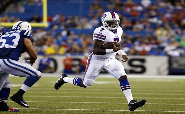 Aug 13, 2016; Orchard Park, NY, USA; Buffalo Bills quarterback Cardale Jones (7) runs with the ball during the second half against the Indianapolis Colts at Ralph Wilson Stadium. Colts beat the Bills 19-18. Mandatory Credit: Kevin Hoffman-USA TODAY Sports