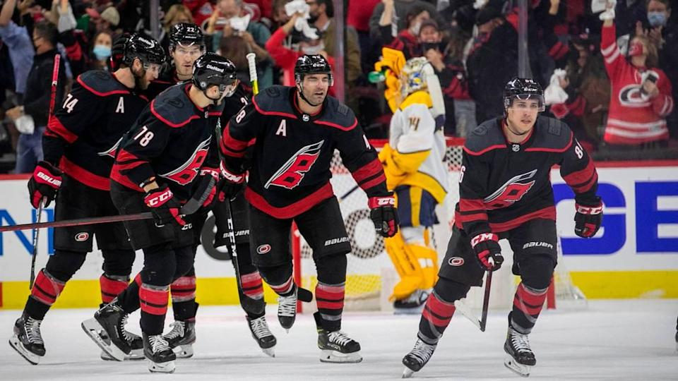 Carolina Hurricanes's Teuvo Teravainen (86) skates to the bench after scoring to tie Nashville 1-1 in the first period during their first round Stanely Cup series game against Nashville on Monday, May 17, 2021 at PNC Arena in Raleigh, N.C.