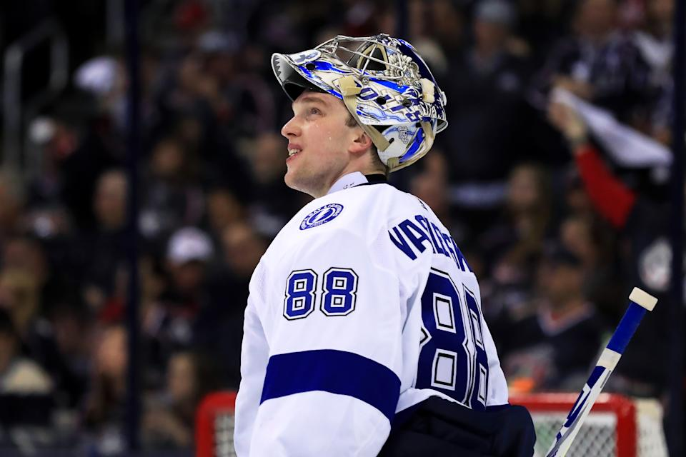Apr 14, 2019; Columbus, OH, USA; Tampa Bay Lightning goaltender Andrei Vasilevskiy (88) looks to the video board during a stop in play against the Columbus Blue Jackets during the third period in game three of the first round of the 2019 Stanley Cup Playoffs at Nationwide Arena. Mandatory Credit: Aaron Doster-USA TODAY Sports