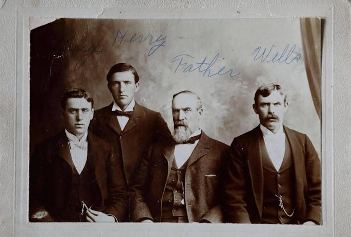 George L. McGowan, who ran cattle in the Stanley Basin in the late 1800s and operated the McGowan Livestock Company and a general store in Challis, is pictured with his sons. McGowan Peak, commonly misspelled as McGown, was named after him in 1916.