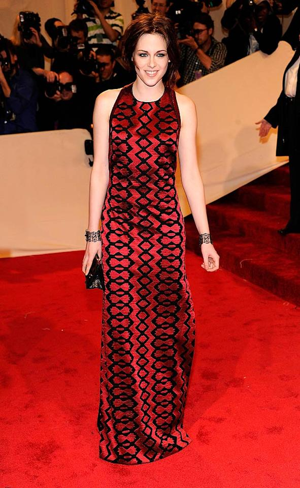 """Twilight"" star Kristen Stewart looked better than ever in a geometric Proenza Schouler dress and flawless face of makeup upon arriving at this year's Costume Institute Gala, which honored the late, great designer Alexander McQueen. The annual soiree took place, as always, at the New York's Metropolitan Museum of Art. Kevin Mazur/<a href=""http://www.wireimage.com"" target=""new"">WireImage.com</a> - May 2, 2011"