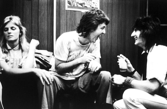 <p>Paul and Linda McCartney with Ronnie Wood backstage at the Palladium in New York City on June 19, 1978.</p>