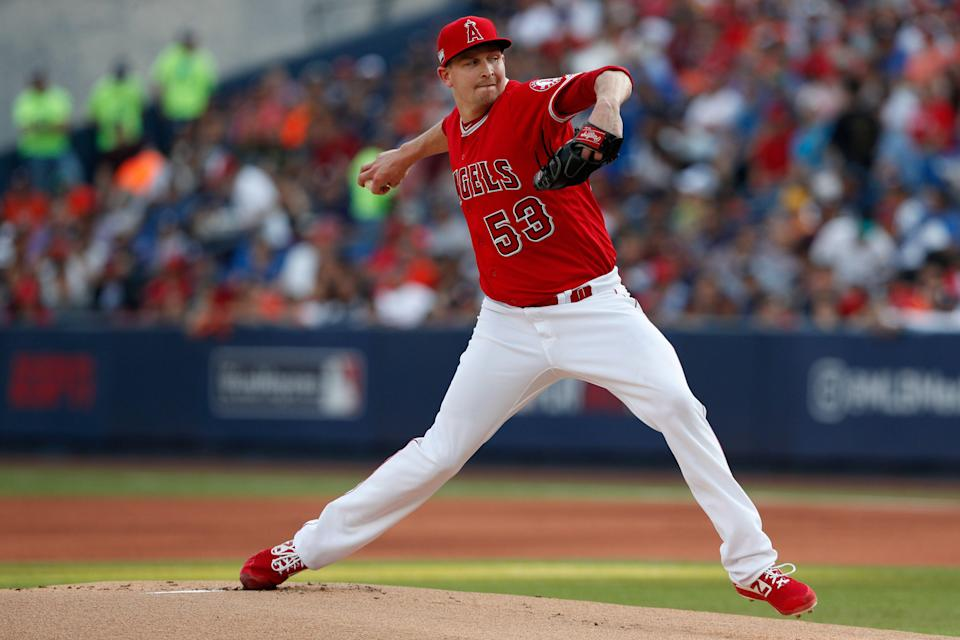 Los Angeles Angels' Trevor Cahill pitches during the first inning of a baseball game against the Houston Astros, in Monterrey, Mexico, Saturday, May 4, 2019. (AP Photo/Rebecca Blackwell)