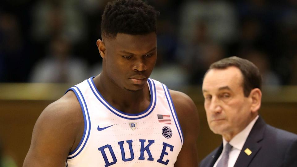 Duke coach Mike Krzyzewski had plenty to say Saturday about the reaction to Zion Williamson's injury against North Carolina. (AP)