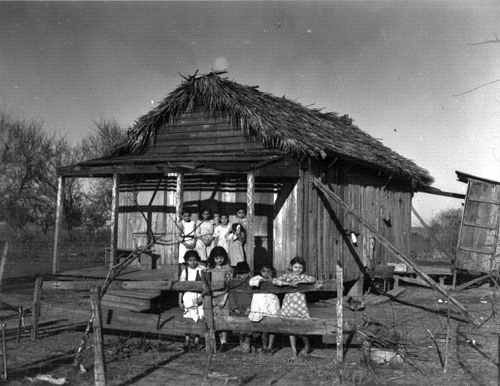 An Indian house made of mud and palmetto in Fa La, Louisiana. The Isle de Jean Charles Band of Biloxi-Chitimacha-Choctaw Tribe says their early homes were similarly constructed.