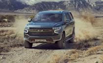 "<p>Just like the 'Burban, the new <a href=""https://www.caranddriver.com/chevrolet/tahoe"" rel=""nofollow noopener"" target=""_blank"" data-ylk=""slk:Chevy Tahoe"" class=""link rapid-noclick-resp"">Chevy Tahoe</a> is here, and offers the same things its big brother has in Z71 guise. A 355-hp V-8 and 10-speed automatic transmission is the only power option here, which is plenty of giddy-up to get you around the ranch. The Tahoe also has a revised front bumper that shows off its skid plate and recovery hoops. A two-speed transfer case and four-wheel drive is standard with 20-inch wheels wrapped in all-terrain tires. The Tahoe Z71 has an optional air suspension that allows an additional two inches of ride height while in 4LO. Chevy also offers a $1499 Napier roof-top tent from their accessory catalog for both the Tahoe and the Suburban for all you happy campers out. </p>"
