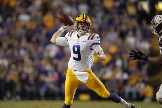 LSU quarterback Joe Burrow throws a pass during the second half of the team's NCAA college football game against Texas A&M in Baton Rouge, La., Saturday, Nov. 30, 2019. LSU won 50-7. (AP Photo/Gerald Herbert)