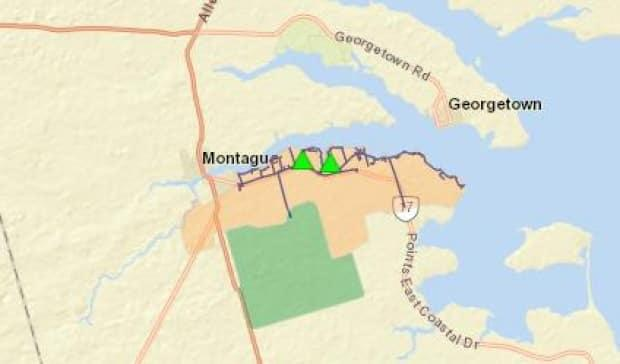 This map from the Maritime Electric site shows the area that was affected by the power outage in Montague on Wednesday morning.  (Maritime Electric - image credit)