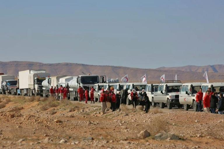 This Syrian Arab Red Crescent aid convoy in February 2019 is one of the very few to have reached the Rubkan camp near the Jordanian border (AFP/-)