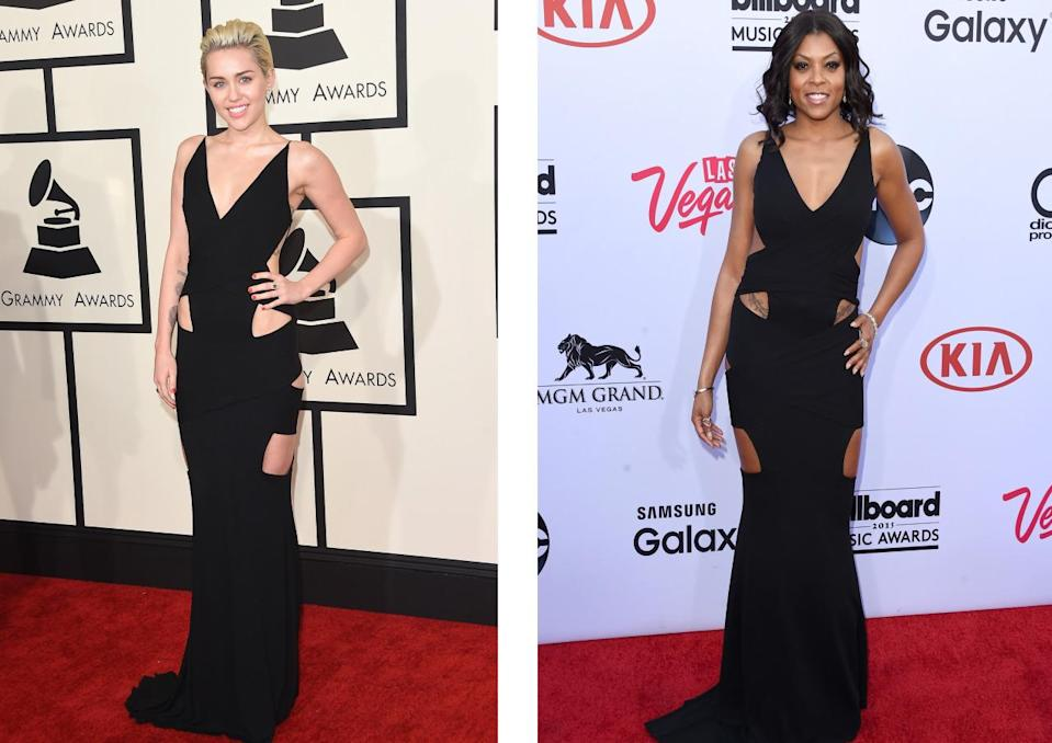 <p>The duo rocked the exact same slinky black dress at two different music awards in 2015. Miley's frock showed off the singer's slim frame while Taraji flaunted her killer curves in hers. <i>[Photo: Getty]</i></p>