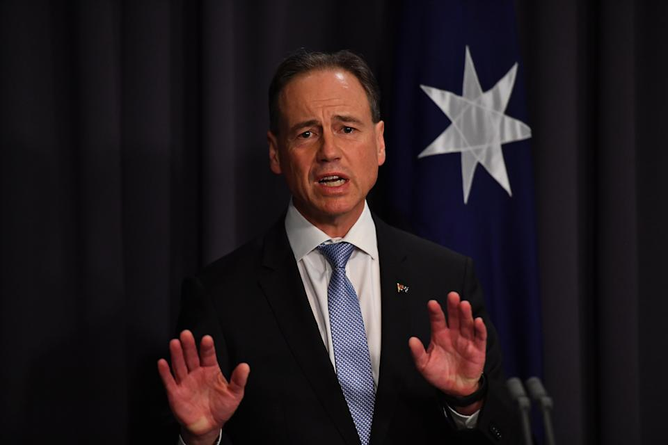 CANBERRA, AUSTRALIA - MAY 13: Minister for Health Greg Hunt delivers a COVID-19 update in the Blue Room at Parliament House on May 13, 2021 in Canberra, Australia. The Morrison government's third budget, handed down on Tuesday, has an increased focus on women, with almost $354 million in funding allocated for women's health. Treasurer Josh Frydenberg also outlined more than $10 billion in spending on major infrastructure projects across Australia aimed to help create local jobs and boost productivity in the COVID-affected national economy. Aged care will receive more than $10 billion over the next four years, in direct response to the findings of the Royal Commission into Aged Care Quality and Safety.  (Photo by Sam Mooy/Getty Images)