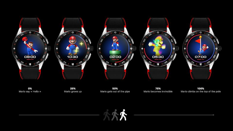 <p>Five of the Tag Heuer Connected Limited Edition Super Mario watches with black-and-red straps. Each of them shows a different Mario image at different times of day.</p>
