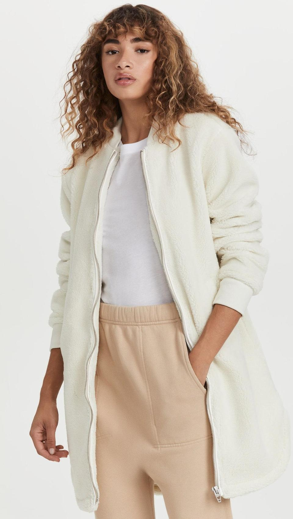 """Cropped styles may reign supreme in teddy land, but a longline bomber style like this one looks on-trend with sweats and a plain <a href=""""https://www.glamour.com/gallery/the-perfect-white-t-shirt-according-to-glamour-editors?mbid=synd_yahoo_rss"""" rel=""""nofollow noopener"""" target=""""_blank"""" data-ylk=""""slk:white T-shirt"""" class=""""link rapid-noclick-resp"""">white T-shirt</a>. $168, Shopbop. <a href=""""https://www.shopbop.com/angels-advocate-blank-denim/vp/v=1/1584582161.htm"""" rel=""""nofollow noopener"""" target=""""_blank"""" data-ylk=""""slk:Get it now!"""" class=""""link rapid-noclick-resp"""">Get it now!</a>"""