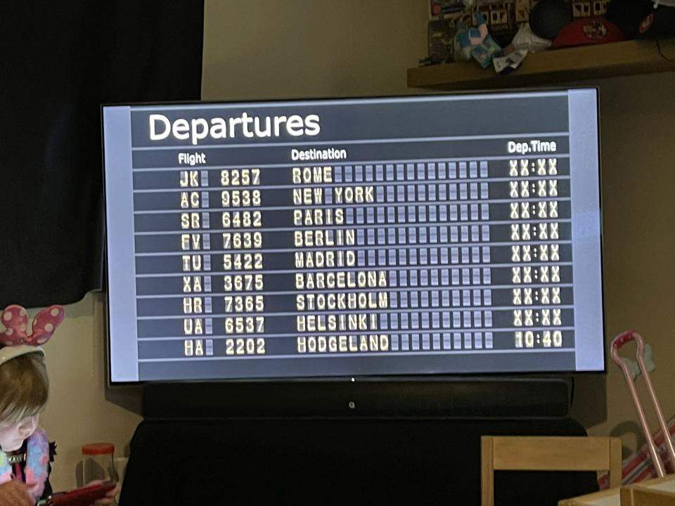 The departure board set up by Heather Hodgson
