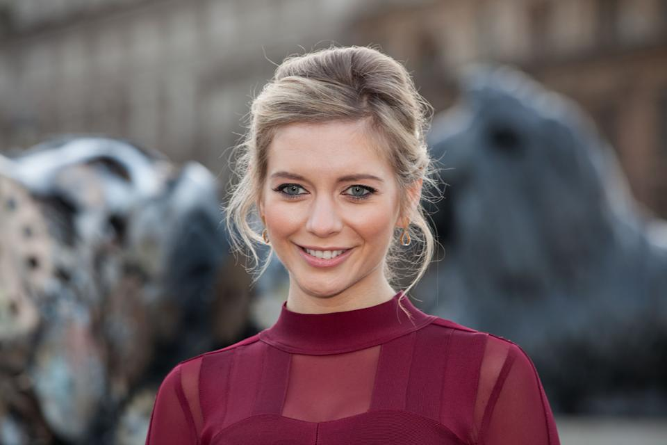 TV presenter Rachel Riley poses for photographers after unveiling a new clockwork Lion statue in Trafalgar Square, London, Thursday, Jan. 28, 2016. The statue raises awareness and funds for the Big Cats Initiative, which supports efforts to save big cats. (Photo by Grant Pollard/Invision/AP)