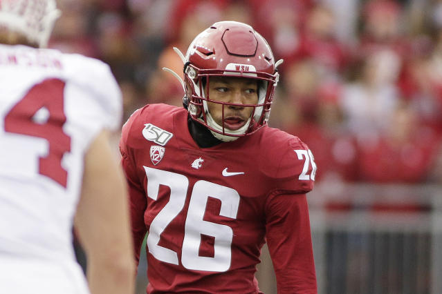 FILE - This Nov. 16, 2019, file photo shows Washington State defensive back Bryce Beekman (26) during the first half of an NCAA college football game against Stanford in Pullman, Wash. Bryce Beekman has died. Police Cmdr. Jake Opgenorth said Wednesday, Marc 25, 2020, the 22-year-old Beekman was found dead at a residence in Pullman. He declined to provide additional details and said more information would be released later by the Whitman County coroners office. (AP Photo/Young Kwak, File)