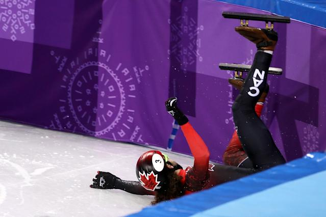<p>Samuel Girard of Canada crashes during the Men's 1500m Short Track Speed Skating semifinals on day one of the PyeongChang 2018 Winter Olympic Games at Gangneung Ice Arena on February 10, 2018 in Gangneung, South Korea. (Photo by Jamie Squire/Getty Images) </p>