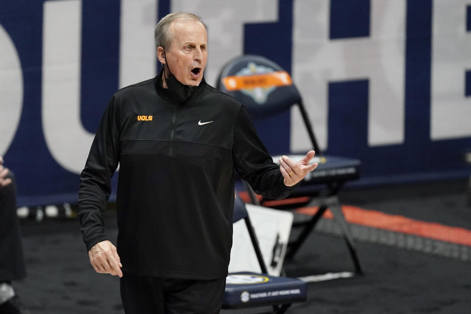 Tennessee head coach Rick Barnes yells to his players in the second half of an NCAA college basketball game against Alabama in the Southeastern Conference Tournament Saturday, March 13, 2021, in Nashville, Tenn. (AP Photo/Mark Humphrey)